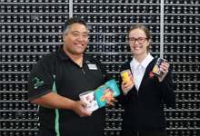 """Resene Petone with Petone Salvation Army envoy Collette Irwin and """"Stephen"""" the ColorShop Manager"""